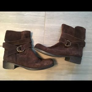 Suede Brown Booties with Buckle